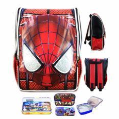 Jual Bgc Tas Ransel Sekolah Anak Tk Spiderman Muka 3D Timbul Lunch Bag Aluminium Tahan Panas Kotak Pensil Alat Tulis Full Motif Spider Branded Original
