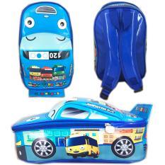 BGC Tas Ransel Sekolah Anak TK Tas Mobil On The Road Tayo Tayo Bus 3 - Blue