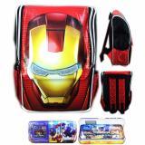 Promo Bgc Tas Ranselsekolah Anak Tk Iron Man Muka3D Timbul Kotak Pensil Alat Tulis Full Motif Avenger Bgc
