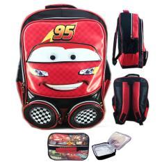 BGC Tas RanselSekolah Anak SD Cars McQueen 3D Muka Timbul + Lunch Bag Aluminium Tahan Panas - Red