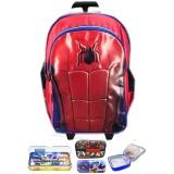 Spesifikasi Bgc Tas Troley Sekolah Anak Sd Spiderman Ultimateotot 3D Timbul Lunch Bag Aluminium Tahan Panas Kotak Pensil Alat Tulis Blue Red Terbaik