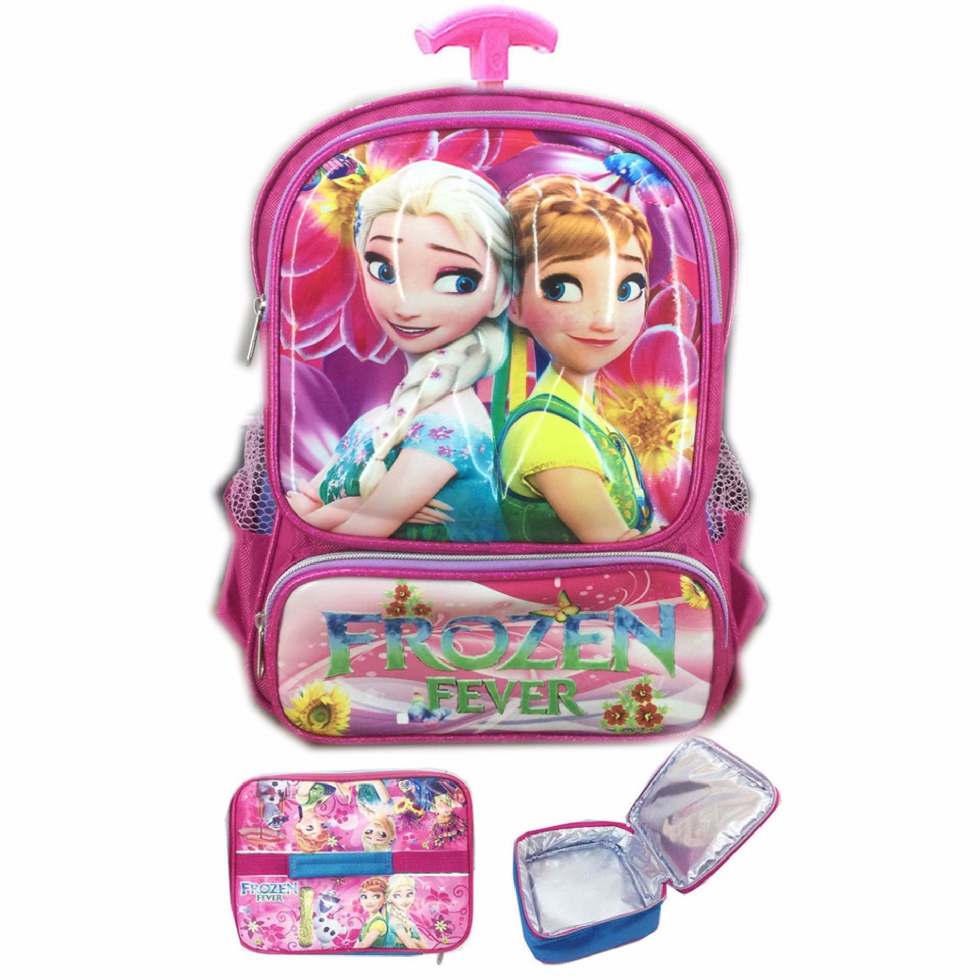 Kuat dan bahan nya IMPORT BGC Tas Troley Sekolah Anak TK Frozen Fever 3D Timbul Hard Cover+ Lunch Bag Aluminium Tahan