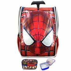 BGC Tas Troley Sekolah Anak TK Spiderman Muka 3D Timbul + Lunch Bag Aluminium Tahan Panas