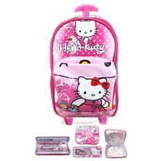 Diskon Produk Bgc Tas Troley Sekolah Anak Tk Tas Mobil On The Road Hello Kitty Lunch Bag Aluminium Tahan Panas Kotak Pensil Alat Tulis Pink