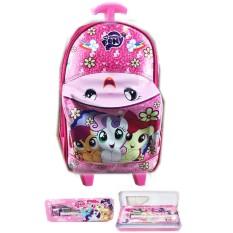 BGC Tas Troley Sekolah Anak TK Tas Mobil On The Road My Little Pony + Kotak Pensil Alat Tulis - Pin