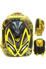 Bgc Transformer Bumble Bee 3D Timbul Hard Cover Tas Ransel Sekolah Anak Sd Yellow Asli
