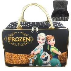 Dapatkan Segera Bgc Travel Bag Kanvas Frozen Fever Elsa Anna Olaf Black Gold