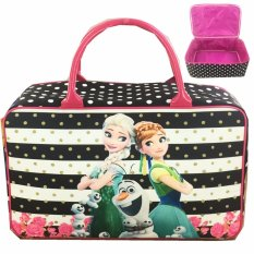 Kualitas Bgc Travel Bag Kanvas Frozen Fever Stripes Black White Bgc