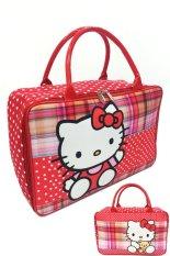 Beli Bgc Travel Bag Kanvas Hello Kitty 2 Sisi Bahan Halus Lembut Kotak Kotak Polkadot Online Terpercaya