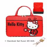 Jual Cepat Bgc Travel Bag Kanvas Hello Kitty Kepik Gembok Set Kunci 20Mm Black Red