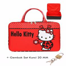 BGC Travel Bag Kanvas Hello Kitty Kepik + Gembok Set Kunci 20mm- Black Red