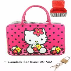Beli Barang Bgc Travel Bag Kanvas Hello Kitty Leopard Polkadot Gembok Set Kunci 20Mm Black Pink Online