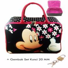 Harga bgc Travel Bag Kanvas Mickey Mouse Gembok Set Kunci 20Mm Black Pink Bgc Ori