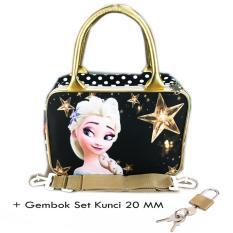Jual Bgc Travel Bag Kanvas Mini Selempang Frozen Elsa Set Gembok Kunci 20Mm Black Gold Bgc Grosir