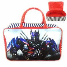 Jual Bgc Travel Bag Kanvas Transformer Optimus Prime Black Red Ori