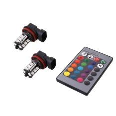 Keluarga Besar: 5050 RGBW 27SMD Automative Pencahayaan Mobil Auto LED Bunglon Lampu Fog Light + 24 Tombol Remote Control-Intl