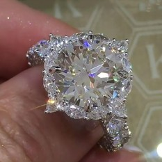 Big Shining Diamond Zirkon Cincin Kristal Batu Permata Alami Putih Safir Birthstone Bride Cincin Pernikahan-Intl