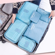 Big Size Travel Bag Organizer 6 in 1 Tas Dalam koper - Biru Muda