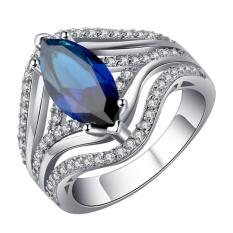 Bigood Disepuh 925 Sterling Perak Cincin Batu Permata Biru Statement Lingkaran untuk Wanita-Internasional