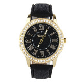 Harga Bigskyie Fashion Wanita Geneva Rhinestone Leather Band Quartz Wrist Watch Hitam Online