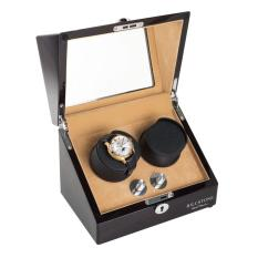Billstone Collector 2 Watch Winder Ebony Wood Finish Khaki Suede Original