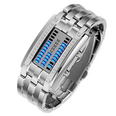 Binary Matrix Blue LED Waterproof Digital Wrist Watch Silver for Women