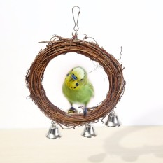 Burung Burung Beo Rotan Berayun Lingkaran Gantungan Peliharaan Parakeet Budgie Cockatiel Kandang Mainan Cokelat Diameter: Kira-kira. 5.91 Inch-Internasional
