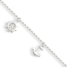 Black Bow Jewelry Sterling Silver 2mm Rolo Chain & Nautical Charm Anklet, 9-10 Inch - intl
