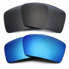Hitam & Es Cermin Biru Lensa Pengganti untuk Kacamata Gascan Terpolarisasi Anti Air Asin Anti Debu-Intl