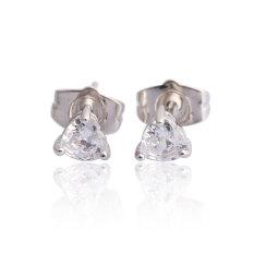Bling Heart Crystal Ear Stud Perhiasan Putih Berlapis Emas