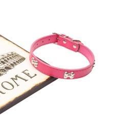 BLING Berlian Imitasi PU Leather Crystal Bone Stud Puppy Kerah Anjing Peliharaan Kucing Kerah Pink 37
