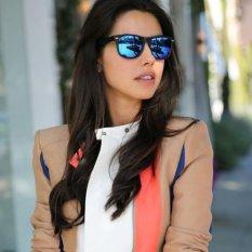Blue lans Retro Aviator Sunglasses Square Lens - Kacamata Wanita  -  Hitam - RAS 7064 RAINBOW MIRR