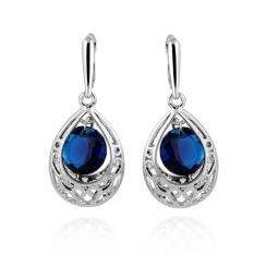 Biru Kristal Air Drop Anting-anting Perhiasan Wanita Putih Berlapis Emas