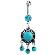 Bluelans® 316 Liter Baja Bedah Pirus Perut Tombol Bar Pesona Perhiasan Cincin Pusar
