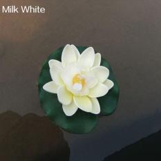 Bluelans® Buatan Buatan Lily Bunga Mengambang Lotus Home Yard Pond Fish Tank Decor (Susu Putih)-Intl