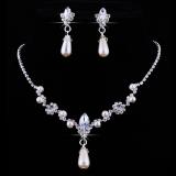Spesifikasi Bluelans® Mutiara Imitasi Pengantin Drop Anting Anting Set Kalung Berlian Imitasi Online