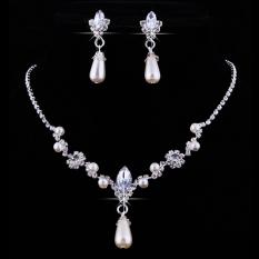 Bluelans® Mutiara Imitasi Pengantin Drop Anting-anting Set Kalung Berlian Imitasi