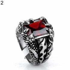 Bluelans® Man Retro Titanium Steel Ring Domineering Dragon Claw Desain Hadiah Cincin Zirkon 10 (