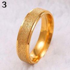 Bluelans Pria Wanita Kawin Cincin Stainless Steel Matte Cincin Perhiasan Beberapa Hadiah Ukuran 9 (emas)