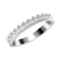Bluelans® Wanita Pria Emas Bersalut Berlian Imitasi Mahkota Perhiasan Cincin Dua Cinta Perak