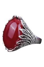 Bluelans® Wanita Pria Emas Berlian Bersalut Imitasi Jari Mayat Merah Batu Opal