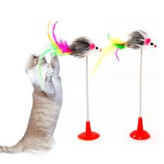 Bluelans® Bulu Hewan Peliharaan Mainan Kucing Tikus Palsu Dasar Parasit Kucing Anak Kucing Bermain Mainan
