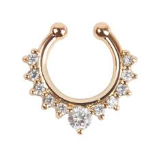 Bluelans®Kuda Jepitan Hidung Cincin Berlian Imitasi Tanpa Tindik Klip Gantungan Di Perhiasan Emas