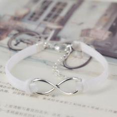 Bluelans® Sederhana Unisex Infinity Lucky 8 Persahabatan Indonesia Ngumpul Di Sini Velvet Gelang Bangle Perhiasan (putih)