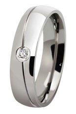 Bluelans® Adapula Titanium Baja Batu Cincin Pernikahan Polos Perak We 7