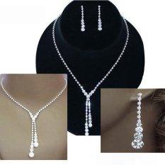 Bluelans® Wedding Clear Rhinestone Drop Kalung Earrings Set