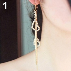 Bluelans Hati untuk Wanita Panjang Jumbai Berlian Imitasi Linear Hook Dangle Duster Earrings (Emas)