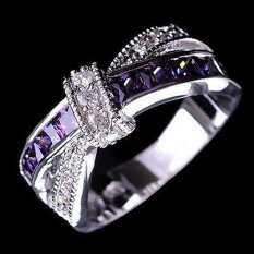Bluelans®Mode untuk Wanita Bening Zirkon Mengkilap Bertatahkan Wedding Bridal Sendi Jari 6-Intl
