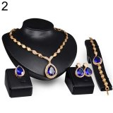 Beli Bluelans Wanita Formal Pesta Waterdrop Zirkonia Kubik Kalung Anting Gelang Cincin Us6 9 Biru Bluelans