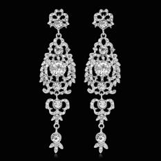 Bluelans® Jual Wanita Bridal Pernikahan Berlian Imitasi Vintage Panjang Chandelier Anting-anting Menjuntai Gift (Silver)